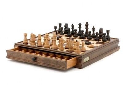 SALE! Dal Rossi 38.5cm Wooden Chess & Checkers Set New $189