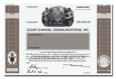 Clear Channel Communications, Inc. RARE American Bank Note Proof