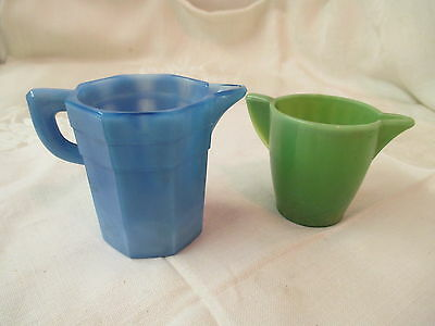 Vintage Depression Akro Agate Glass blue opaque Pitcher Creamer & green child's