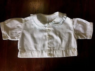 Vintage Baby Boy's, Girl's Linen Shirt~White with Blue Trim~Free Shipping