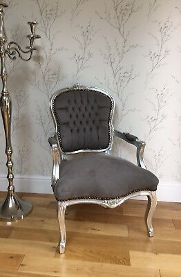 French Louis style Shabby Chic Grey Velvet Chair with silver wooden frame