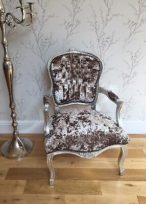 French Louis style Shabby Chic Champagne crushed Velvet Chair /silver wood frame
