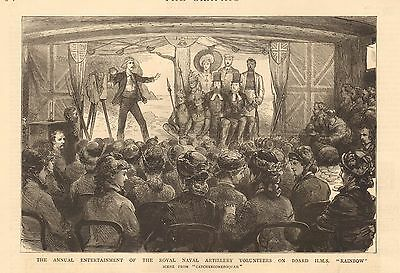 1880 Antique Print - Annual Entertainment Of Royal Naval Artillery Volunteers