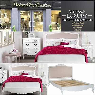 French Style White Painted Shabby Chic 6ft Super King Bed Upholstered Headboard