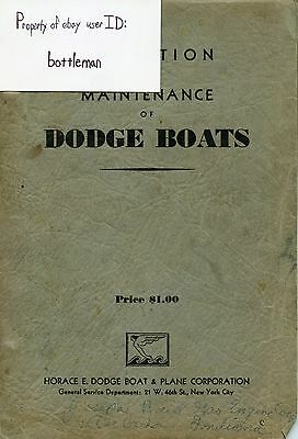 Vintage Original 1930 Dodge Boats Operation And Maintenance Manual