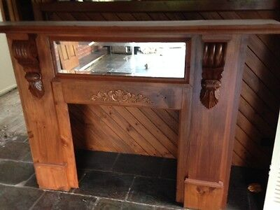 Timber Fireplace Surround / Timber Mantel Piece with Corbals and Mirror