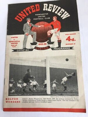 MANCHESTER UNITED v Newcastle United UNITED REVIEW Programme 30th March 1956