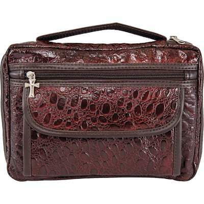 Alligator Embossed BURGUNDY BIBLE COVER Protective Book Carry Case Cross Zipper