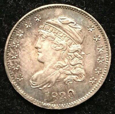 1830 H10C Capped Bust Half Dime/ Ding At Date- AU#