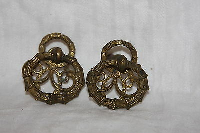 Vintage Solid Brass AH Co DD02 Ornate Wreath Knocker Style Drawer Pull Knobs