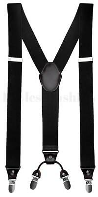 "Mens Heavy Duty Elastic Adjustable 1 1/2"" Suspenders In Y Shape Various Colors"