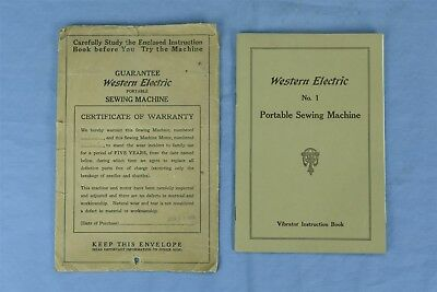 Antique 1919 WESTERN ELECTRIC #1 PORTABLE SEWING MACHINE INSTRUCTION BOOK #04277