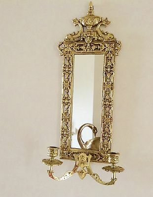 """VINTAGE  22"""" BRASS BAROQUE STYLE WALL MIRROR Candle Sconce old Dolphin BRADLEY"""