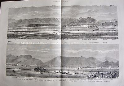 1880 Antique Print -  City Of Kabul, Sherpur Cantonments From Bemaru Heights
