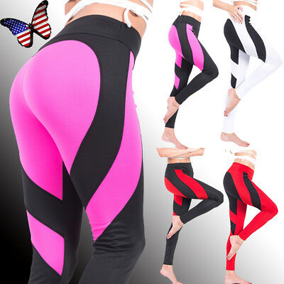 Women Sport Yoga Workout Gym Fitness Leggings Pants Trousers Athletic Clothes US