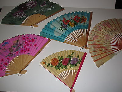 Vintage Paper Fan Collection Asian Theme Lot Of 9 1 Plastic Must See