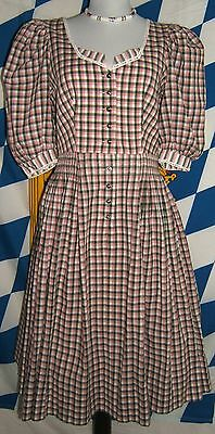 Hanne Modell Traditional Puffy Short Sleeve Checked Dirndl Dress Cotton  EU 38