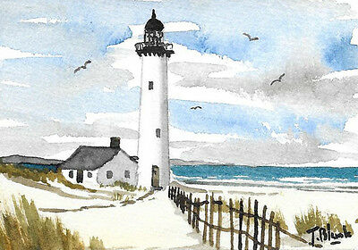 ORIGINAL AQUARELL - Leuchtturm am Strand.