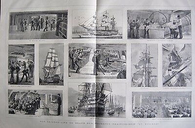 "1880 Antique Print -Life On Board Training Ship ""st Vincent"""