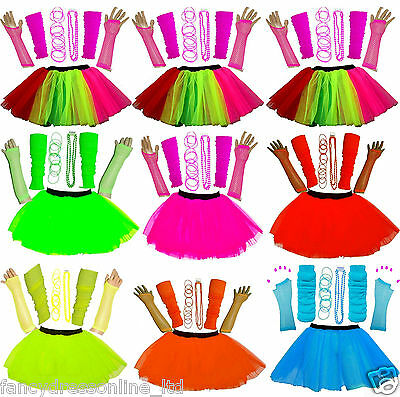 Womens Girls 80's 70's Neon Tutu Skirt Leg Warmers Gloves Bead Gummy Bangle Set