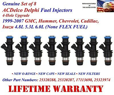 8x Genuine Delphi 4 Hole fuel injectors for Chevy/Cadillac/GM V8 Add Performance