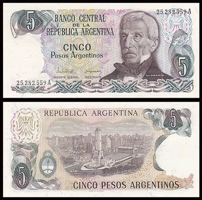 ARGENTINA 🇦🇷 5 Pesos Banknote, 1983-1984, P-312, UNC World Currency