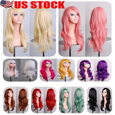 US SELLER Long Straight Wavy Cosplay Wig Full Wigs Costume Party Heat Resistant