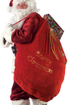 SANTA Claus Christmas TOY Bag SACK Red Plush Velvet Present Costume Accessory