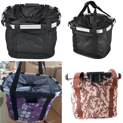 Cycling Bike Front Foldable Basket Bicycle Handlebar Bag Detachable Pet Carrier