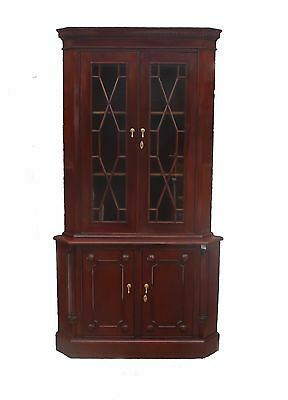 Brand New Solid Mahogany Wood 2 Door Corner Cabinet Antique Reproduction