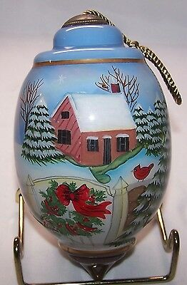 """Ne 'Qwa Reverse Painted """"Warm Winter Blessings"""" Ornament by Susan Winget Cabin"""