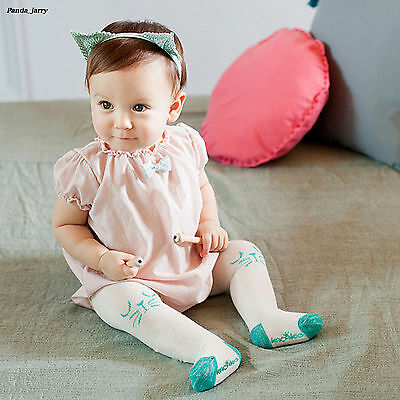 Girls Multicolor Cute Cartton Baby Tights White Cotton Knit Pantyhose Gift