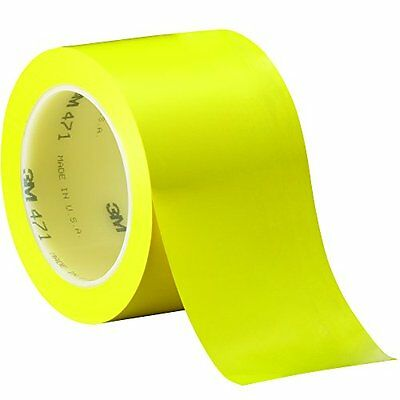 """3M T968471Y Yellow #471 Solid Vinyl Tape, 3"""" x 36 yd. (Pack of 12)"""