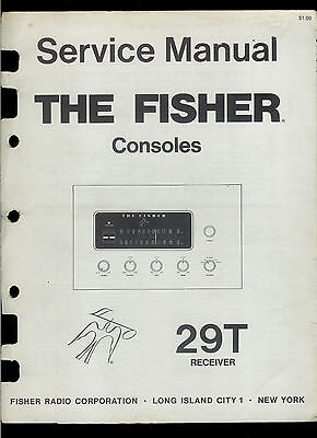 The Fisher 29T AM FM Stereo Tuner Receiver Console Rare Factory Service Manual