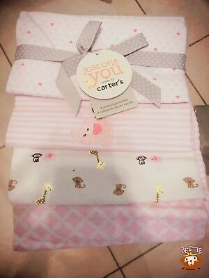 Carter's NEW Receiving Blankets 100% Cotton pink and white