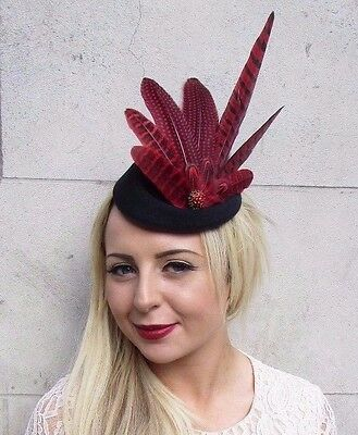 Red Black Pheasant Feather Pillbox Hat Hair Fascinator Races Vintage Clip 3768