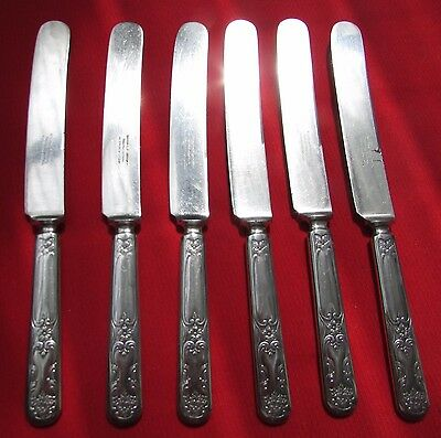 1910 Daisy Pattern 6 Dinner Knives By Simeon  L & George H Rogers Silver Plate