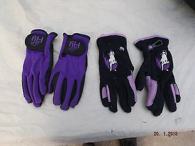 2 Pairs Childs Riding Gloves,hy And Loveson, Clean,cm Fit,6 To 8 Years,used