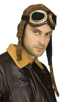 Aviator Pilot Hat Cap and Goggles World War l Bomber Steampunk Costume New