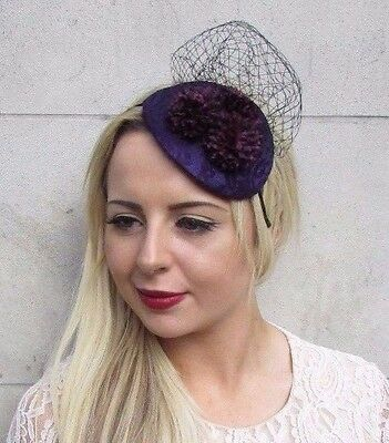 Dark Purple Black Flower Fascinator Hair Headband Wedding Races Teardrop 3773