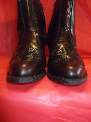Women's Cowboy Ankle Boots Brown Sz.8 Ew Leather Uppers With Zipper Made In Usa