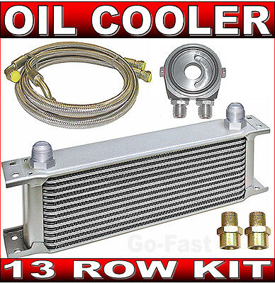 OIL COOLER KIT - 13 ROW OIL COOLER KIT with BRAIDED STAINLESS STEEL HOSES