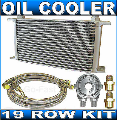 Oil Cooler Kit - 19 Row Oil Cooler Kit + Braided Stainless Steel Hoses & Adaptor