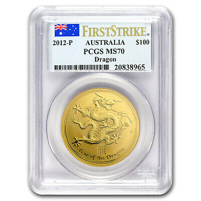 2012 1 oz Gold Year of the Dragon MS-70 PCGS (SII, First Strike) - SKU#65111