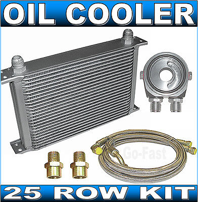 OIL COOLER KIT - 25 ROW OIL COOLER KIT with BRAIDED STAINLESS STEEL HOSES