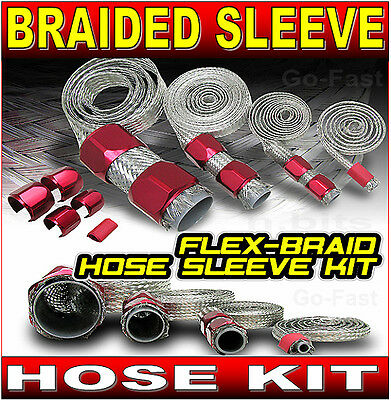 Braided Sleeve Hose Kit & Aluminium Clamp Covers - Red