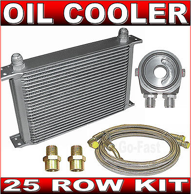 Oil Cooler Kit - 25 Row Oil Cooler Kit + Braided Stainless Steel Hoses & Adaptor