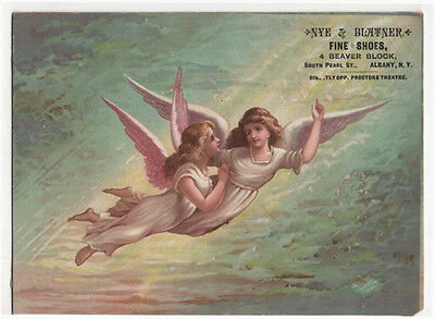 Vintage NYE & BLATNER Trade Card, Fine Shoes, Albany, New York, A Pair of Angels