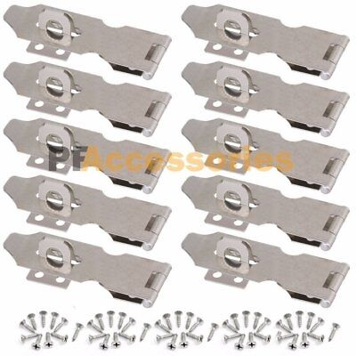 """10x 3"""" inch Zinc Plated Safety Hasp and Staple for Gate Door Cabinet Lock"""