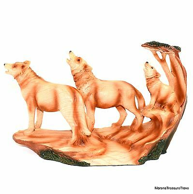 """Faux Wood Rustic Howling Wolves Wolf Pack Family and Pup 6"""" Tall Figurine Statue"""